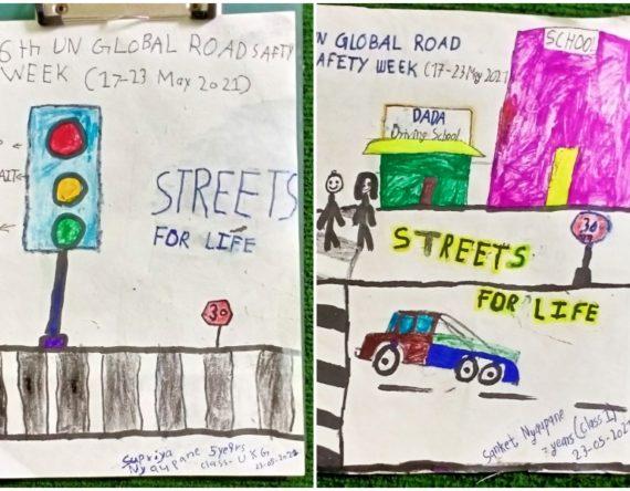 छैटौं यूएन ग्लोबल रोड सेफ्टी विकमा ट्राफिक सचेतनामूलक चित्रकला